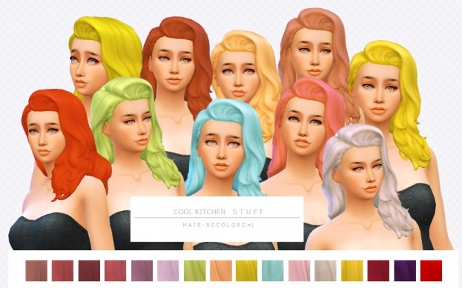 Sims 4 Cool Kitchen Stuff Hair Recolors 1 by asimsfetish at SimsWorkshop