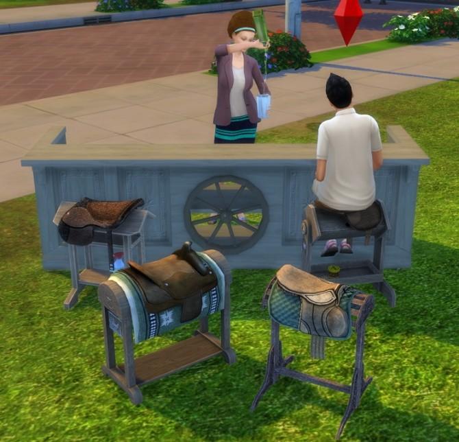 Sims 4 3 to 4 Saddles as Barstools by BigUglyHag at SimsWorkshop