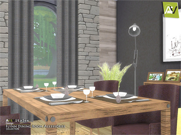 Flynn dining room accessories by artvitalex at tsr sims for Dining room ideas sims 4