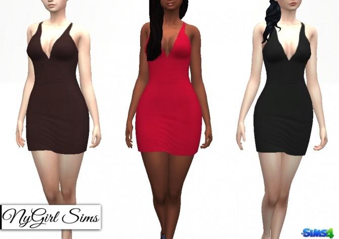 Sims 4 Deep V Neck Mini Dress at NyGirl Sims