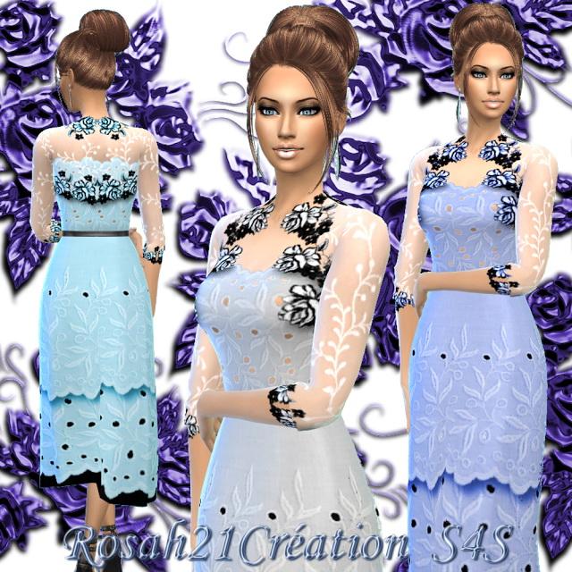 Sims 4 English roses dress by Rosah at Sims Dentelle