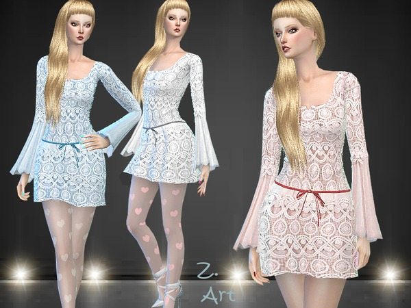 Sims 4 Fairylike lace dress by Zuckerschnute20 at TSR