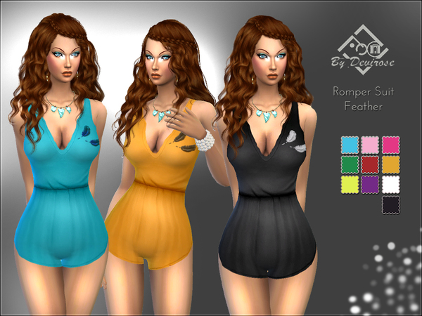 Sims 4 Romper Suit Feather by Devirose at TSR