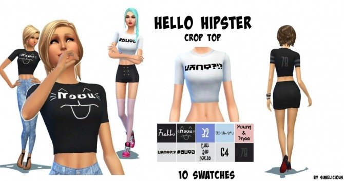 Sims 4 Hello Hipster Crop Top at Simelicious