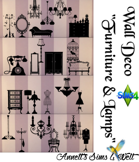 Furniture & Lamps Wall Deco at Annett's Sims 4 Welt image 1585 Sims 4 Updates