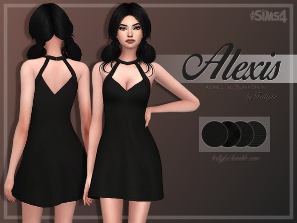 Sims 4 Alexis A Line Little Black Dress by Trillyke at TSR