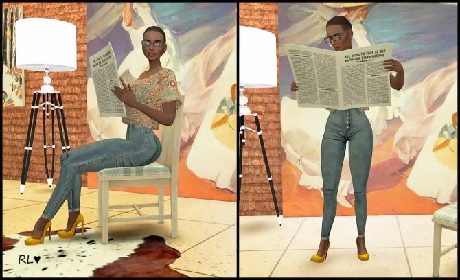 Reading Newspaper Poses At Rethdis Love 187 Sims 4 Updates