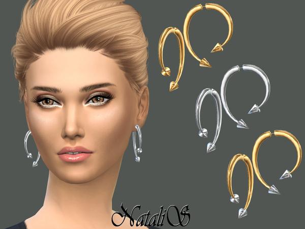 Sims 4 Winding Arrow Earrings by NataliS at TSR
