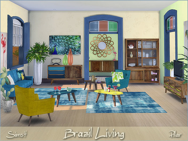 Sims 4 Brazil Living by Pilar at TSR