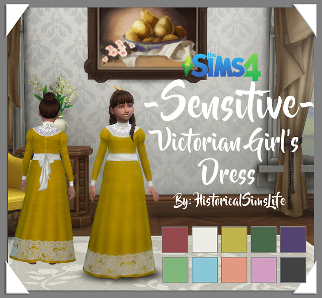 Sims 4 Sensitive Victorian Girls Dress by Anni K at Historical Sims Life