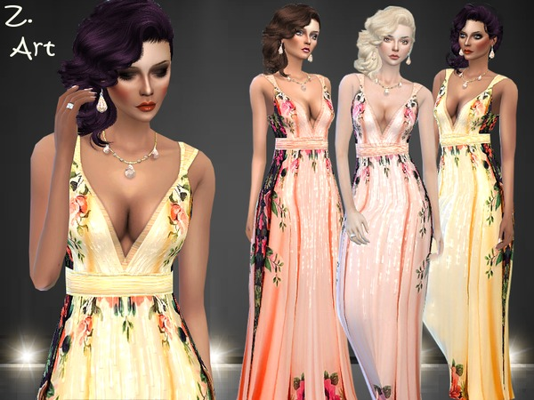 Sims 4 Noble Rose dress by Zuckerschnute20 at TSR