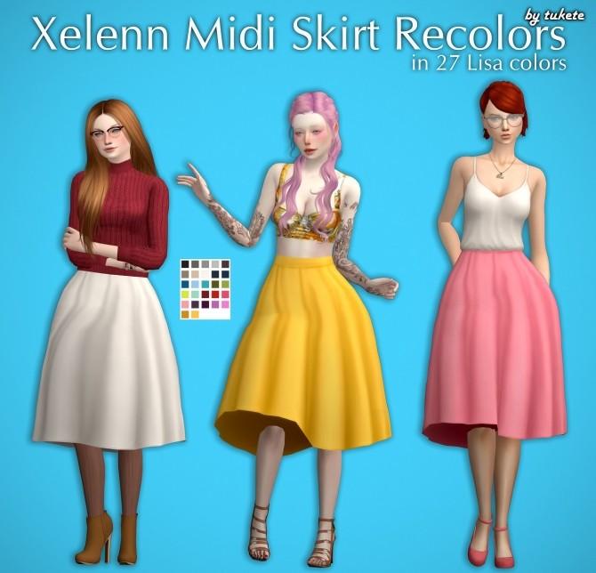 Sims 4 Xelenn Midi Skirt Recolors at Tukete
