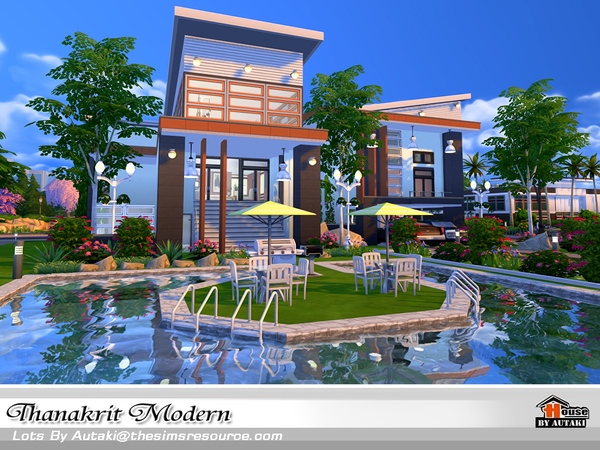 Thanakrit modern house by autaki at tsr sims 4 updates for Pool designs sims 4