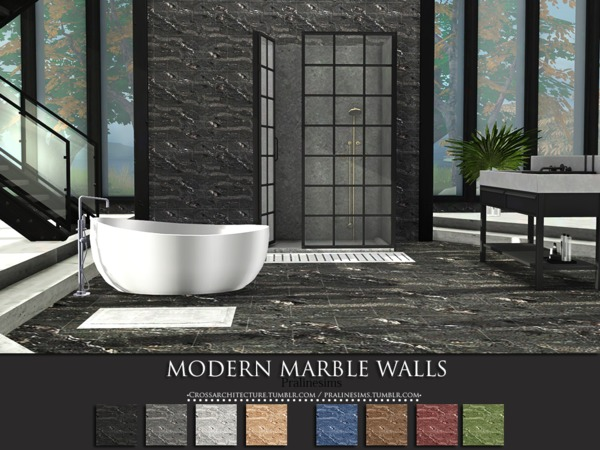 Sims 4 Modern Marble Walls by Pralinesims at TSR