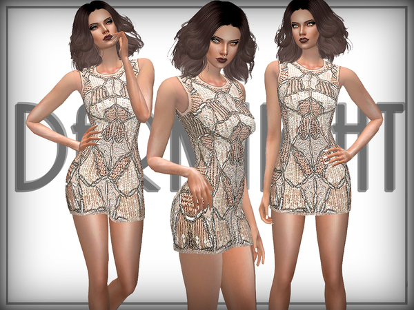 Sims 4 Embellished Cut Away Dress by DarkNighTt at TSR