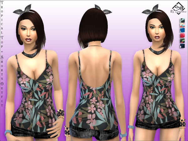 Tropical Outfit Top + Shorts by Devirose at TSR image 2210 Sims 4 Updates
