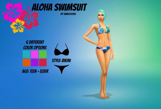 Sims 4 Aloha Swimsuit Recolor at Simelicious