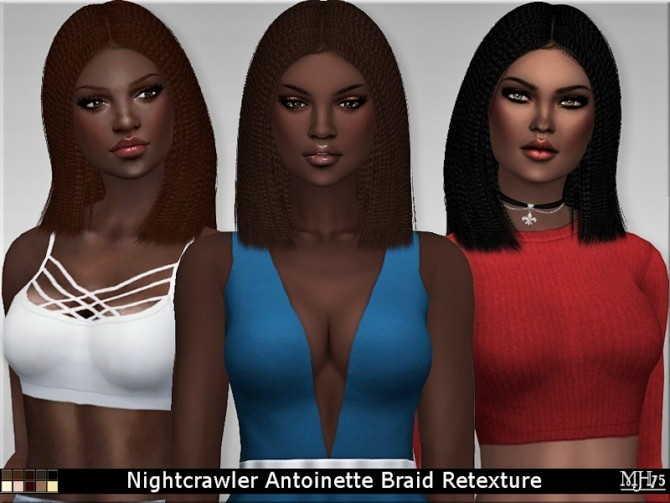 Sims 4 Nightcrawler Antoinette Braid Retexture by Margeh75 at Sims Addictions