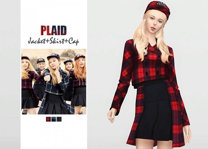 Plaid Jacket + Skirt + Cap at Waekey image 2533 670x479 Sims 4 Updates