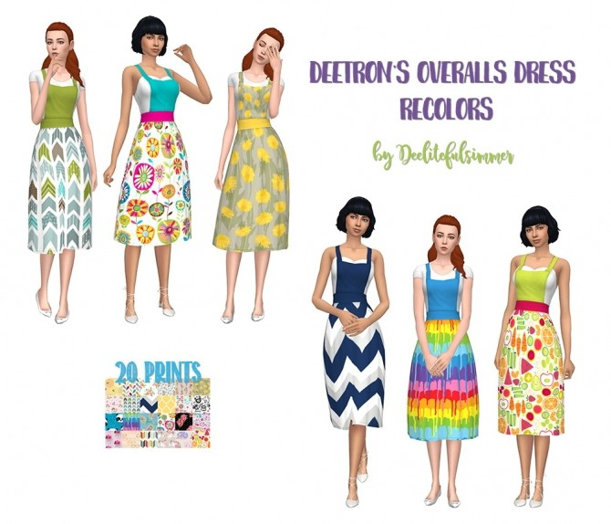 Sims 4 Deetrons Overall Dress Recolors by deelitefulsimmer at SimsWorkshop