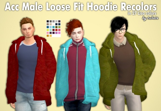 Sims 4 Acc Male Loose Fit Hoodie Recolors at Tukete