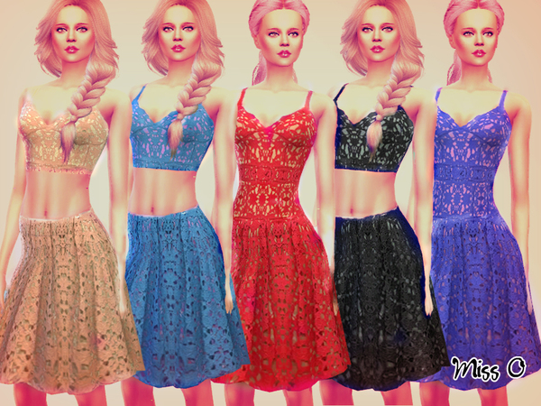 Sims 4 Romantic Lace Set by Mis O at TSR