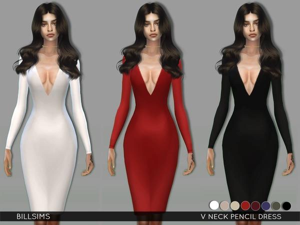 Sims 4 V Neck Pencil Dress by Bill Sims at TSR