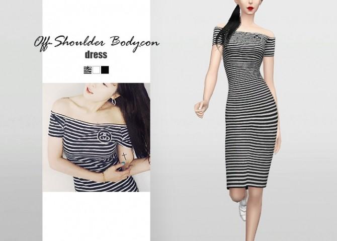 Sims 4 Off Shoulder Bodycon Dress at Waekey