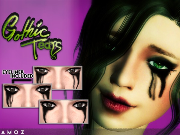 Gothic Tears Eyeliner by Amoz at TSR image 3218 Sims 4 Updates