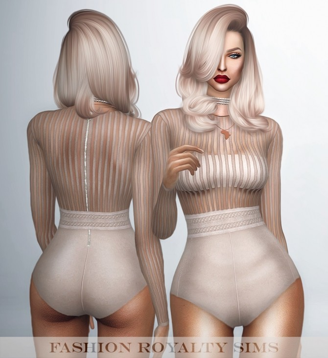 Sims 4 Long Sleeve Striped Bodysuit with Belt at Fashion Royalty Sims