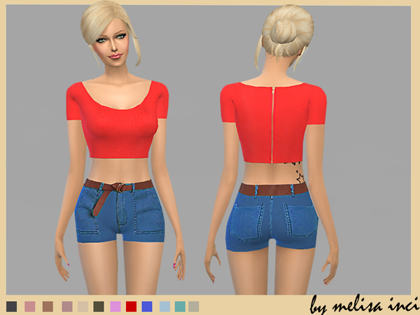 Sims 4 Belted Denim Short by melisa inci at TSR