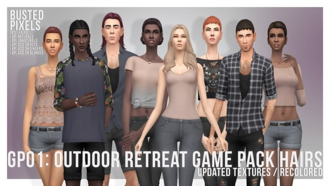 Sims 4 GP01 Male & Female Hairs ReTextured/Recolored at Busted Pixels