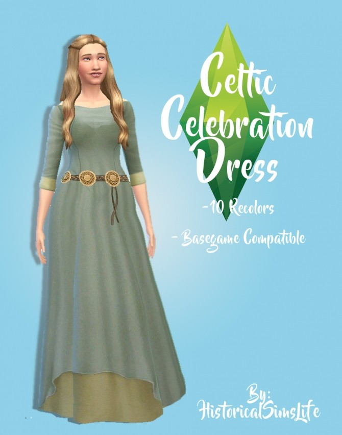 Sims 4 Celtic Celebration Dress by Anni K at Historical Sims Life