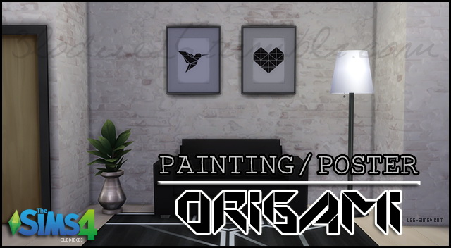 Sims 4 Origami Painting by 3lodiie at Les Sims4