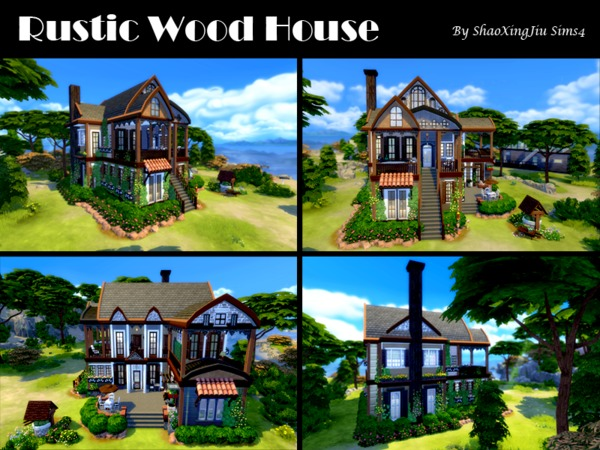 Sims 4 Rustic Wood House by jeisse197 at TSR