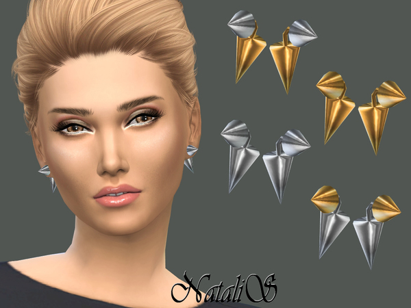 Sims 4 Cone Front Back Earrings by NataliS at TSR