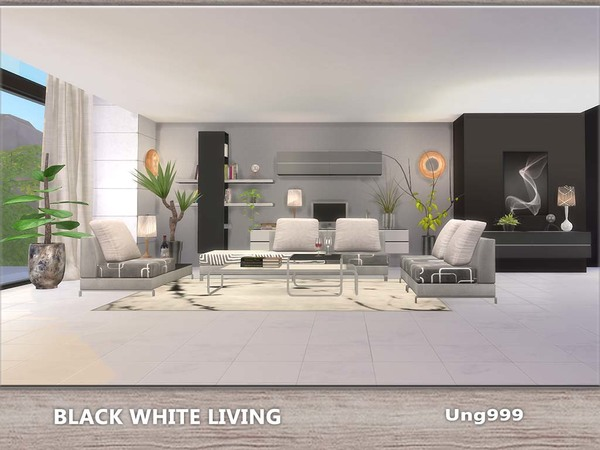 Sims 4 Black White Living by ung999 at TSR