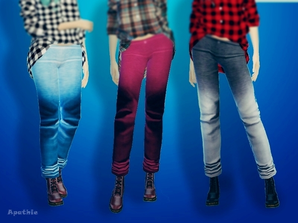 Sims 4 Ombree Long Jeans by Apathie at TSR