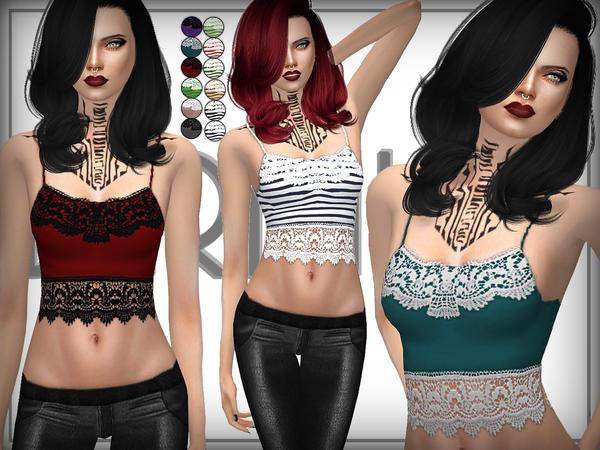 Sims 4 Crochet Trim Bralet by DarkNighTt at TSR