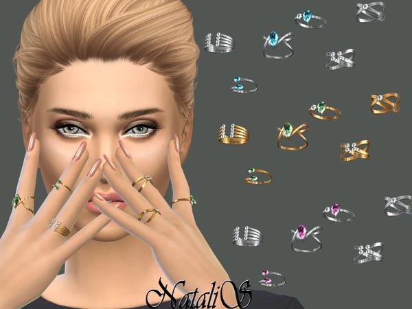 Sims 4 Multi stone rings by NataliS at TSR