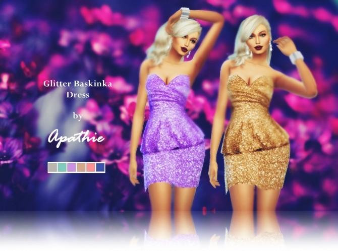 Sims 4 Glitter Baskinka Dress at Apathie