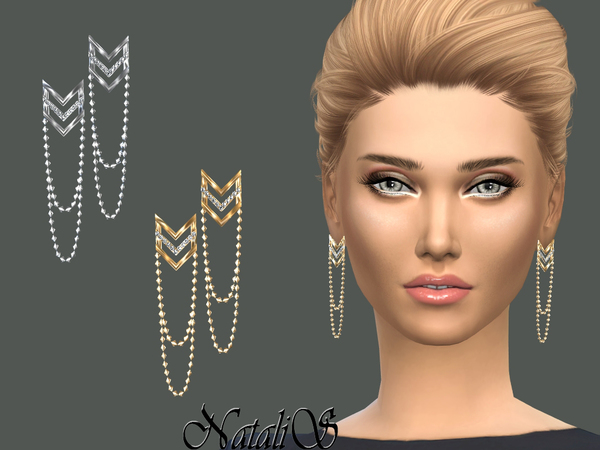 Sims 4 Chevron earrings with draped chain by NataliS at TSR
