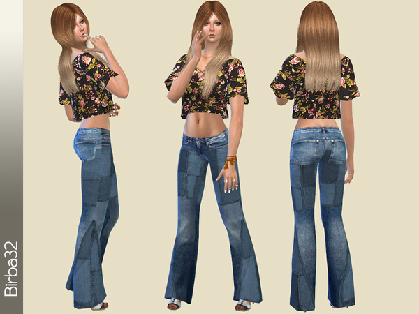 Hippie jeans Patches by Birba32 at TSR image 424 Sims 4 Updates