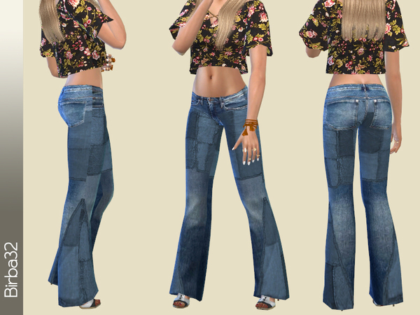 Sims 4 Hippie jeans Patches by Birba32 at TSR