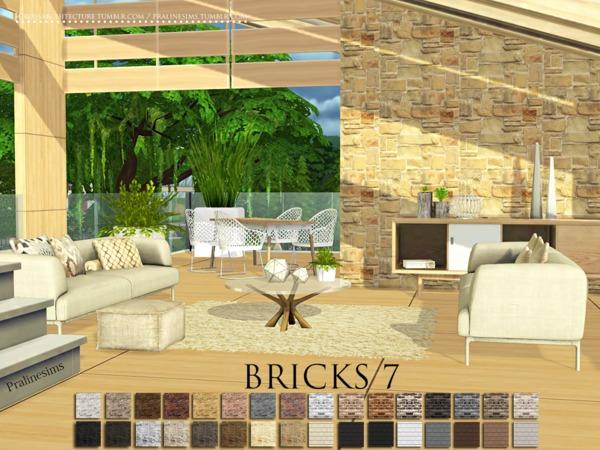 Sims 4 Bricks 7 walls by Pralinesims at TSR