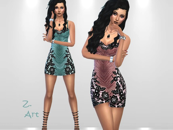 Sims 4 Crinkle Mini dress by Zuckerschnute20 at TSR
