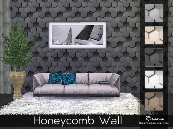 Honeycomb Wall by Rirann at TSR image 463 Sims 4 Updates