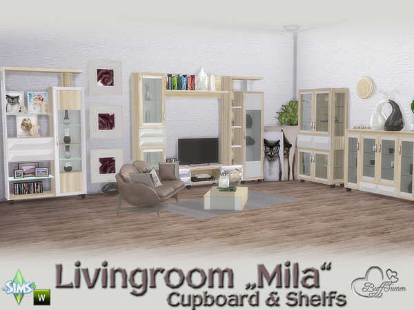 Mila Living Cupboard & Shelfs by BuffSumm at TSR image 464 Sims 4 Updates