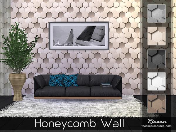 Honeycomb Wall by Rirann at TSR image 473 Sims 4 Updates