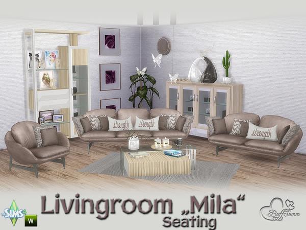 Sims 4 Mila Living Seating by BuffSumm at TSR